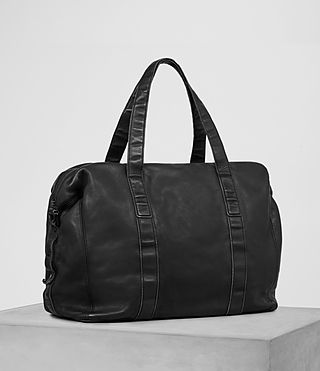 Mens Meguro Leather Holdall (Washed Black) - product_image_alt_text_3