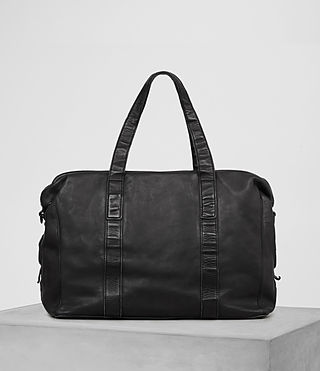 Mens Meguro Leather Holdall (Washed Black) - product_image_alt_text_5