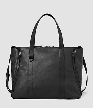 Mens Dray Leather Holdall Bag (Washed Black)