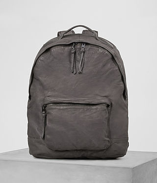 Hombres Hart Leather Rucksack (Slate Grey)