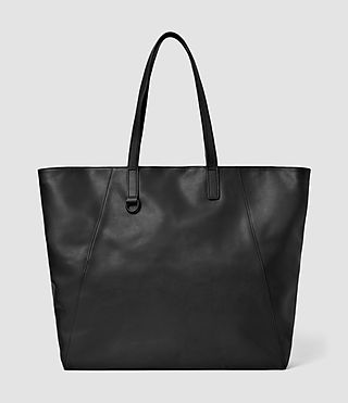 Mens Dray Leather Tote Bag (Washed Black)