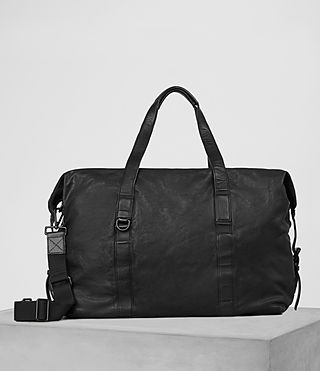 Hombres Hart Leather Holdall (Washed Black)