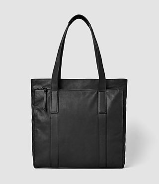 Mens Boundary Leather Tote Bag (Washed Black)