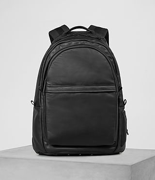 Hombres Flight Leather Rucksack (Washed Black)