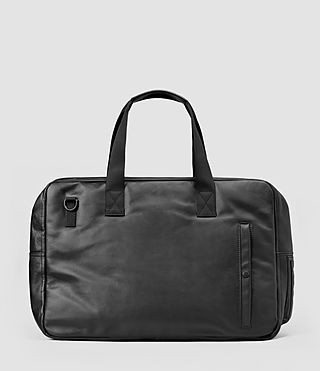 Mens Flight Leather Holdall (Washed Black)