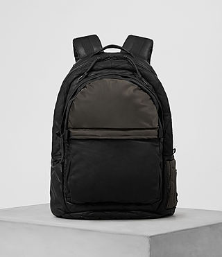 Hombres Shoto Leather Rucksack (Washed Black/Khaki)