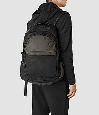 Hommes Sac à dos en cuir Shoto (Washed Black/Khaki) - product_image_alt_text_2