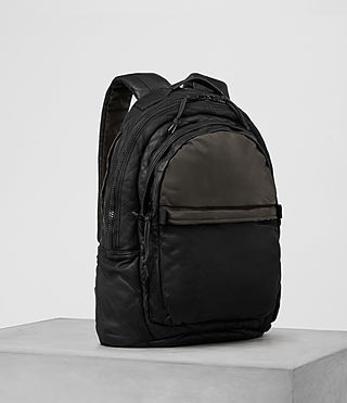 Hommes Sac à dos en cuir Shoto (Washed Black/Khaki) - product_image_alt_text_4