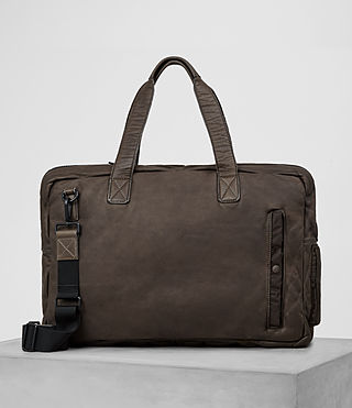 Hommes Shoto Leather Holdall (WASHED TAUPE/KHAKI)