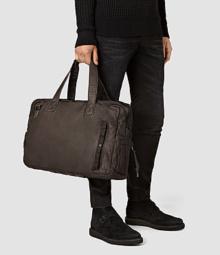 Mens Shoto Leather Holdall (WASHED TAUPE/KHAKI) - product_image_alt_text_2