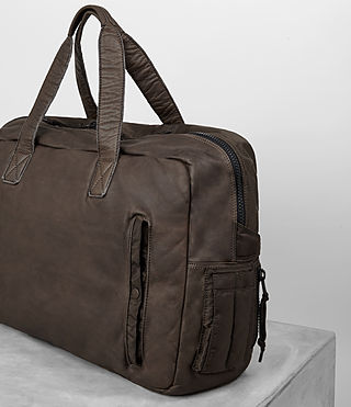 Mens Shoto Leather Holdall (WASHED TAUPE/KHAKI) - product_image_alt_text_3