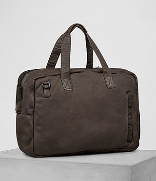 Mens Shoto Leather Holdall (WASHED TAUPE/KHAKI) - product_image_alt_text_4