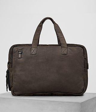 Mens Shoto Leather Holdall (WASHED TAUPE/KHAKI) - product_image_alt_text_6