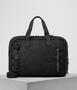 Hombres Shoto Leather Holdall (Washed Black/Grey)