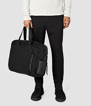 Men's Shoto Leather Holdall (Washed Black/Grey) - Image 2