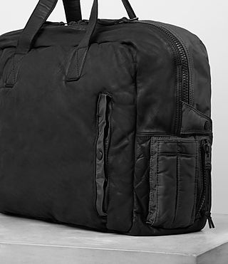 Men's Shoto Leather Holdall (Washed Black/Grey) - Image 3