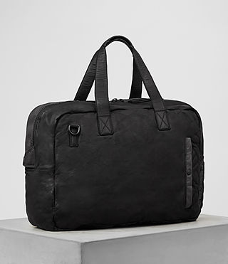 Men's Shoto Leather Holdall (Washed Black/Grey) - Image 4