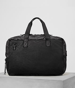 Men's Shoto Leather Holdall (Washed Black/Grey) - Image 6