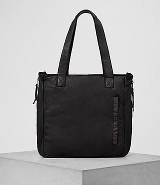 Hombre Shoto Leather Tote (Washed Black/Khaki) - product_image_alt_text_1