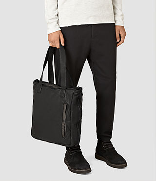 Hombre Shoto Leather Tote (Washed Black/Khaki) - product_image_alt_text_2