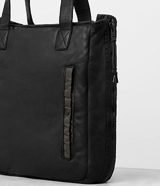 Men's Shoto Leather Tote (Washed Black/Khaki) - product_image_alt_text_3