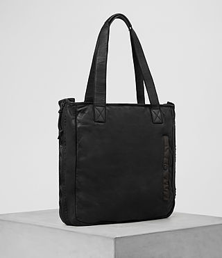 Hombre Shoto Leather Tote (Washed Black/Khaki) - product_image_alt_text_4