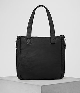 Hombre Shoto Leather Tote (Washed Black/Khaki) - product_image_alt_text_6
