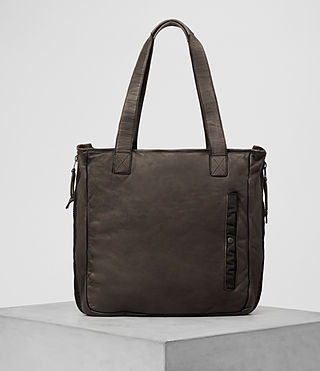 Hombres Shoto Leather Tote (WASHED TAUPE/KHAKI)