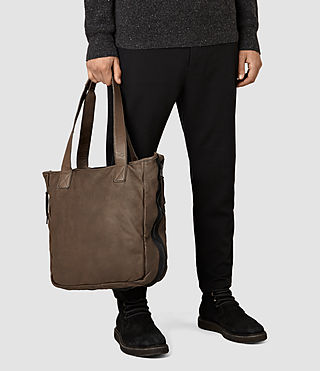 Mens Shoto Leather Tote (WASHED TAUPE/KHAKI) - product_image_alt_text_2