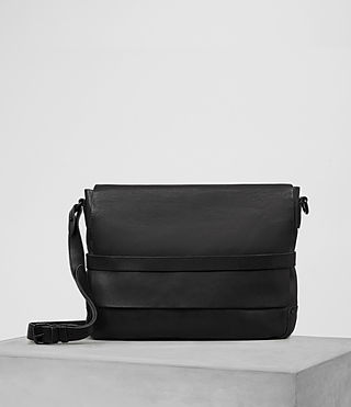 Hombres Storm Leather Messenger Bag (Washed Black) -