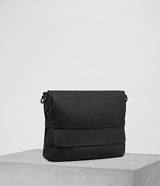 Hombre Storm Leather Messenger Bag (Washed Black) - product_image_alt_text_3