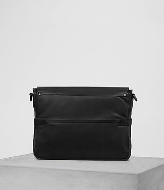 Hombre Storm Leather Messenger Bag (Washed Black) - product_image_alt_text_5