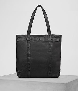 Hombre Storm Leather Tote (Washed Black)