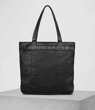 Hommes Storm Leather Tote (Washed Black) - product_image_alt_text_5