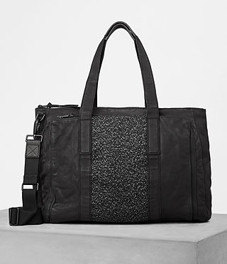 Herren Hoshi Leather Holdall (Washed Black)