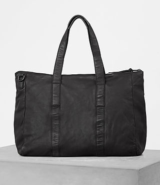 Hombre Hoshi Leather Holdall (Washed Black) - product_image_alt_text_4