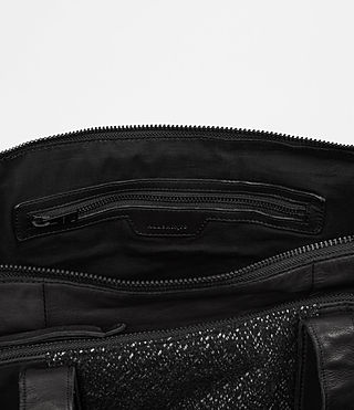 Hombre Hoshi Leather Holdall (Washed Black) - product_image_alt_text_5