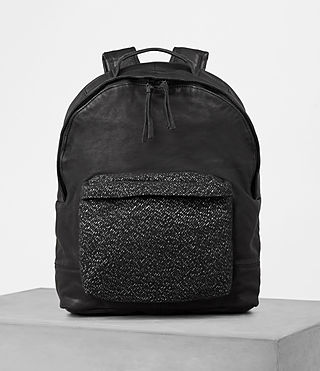 Hombres Hoshi Leather Rucksack (Washed Black)