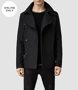 Mens Calton Pea Coat (Charcoal)