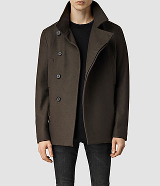 Mens Wade Peacoat (Dark Khaki) - product_image_alt_text_1