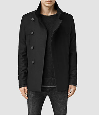 Mens Wade Pea Coat (Black) - product_image_alt_text_1