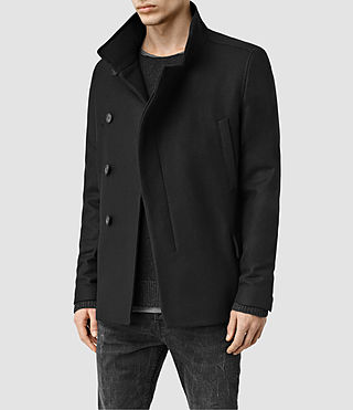 Mens Wade Pea Coat (Black) - product_image_alt_text_2