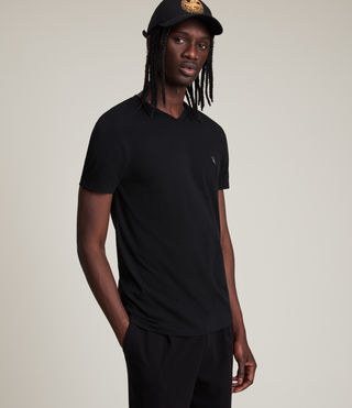 Mens Tonic V-neck T-Shirt (Jet Black) - product_image_alt_text_1