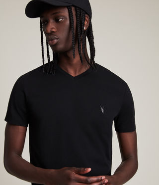 Mens Tonic V-neck T-Shirt (Jet Black) - product_image_alt_text_2