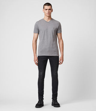 Uomo T-shirt Tonic V-neck (SOOT GREY MARL) - product_image_alt_text_3