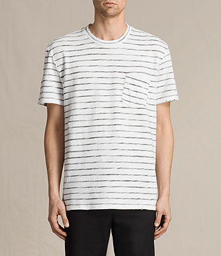 Hombres Tyed Stripe Crew T-Shirt (CHALK WHITE/BLACK)