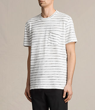 Mens Tyed Stripe Crew T-Shirt (CHALK WHITE/BLACK) - product_image_alt_text_2
