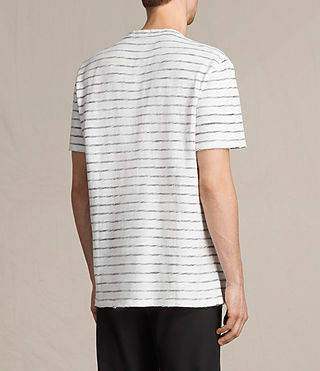 Mens Tyed Stripe Crew T-Shirt (CHALK WHITE/BLACK) - product_image_alt_text_3