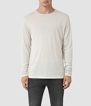 Hombres Galaxy Long Sleeve Crew T-Shirt (Powder White) -