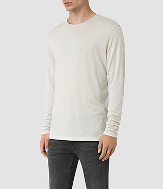 Hombres Galaxy Long Sleeve Crew T-Shirt (Powder White) - product_image_alt_text_2